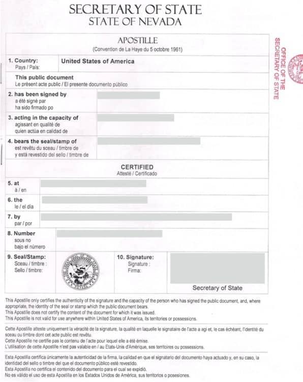 Apostilla de Haya de un certificado de los Estados Unidos de América