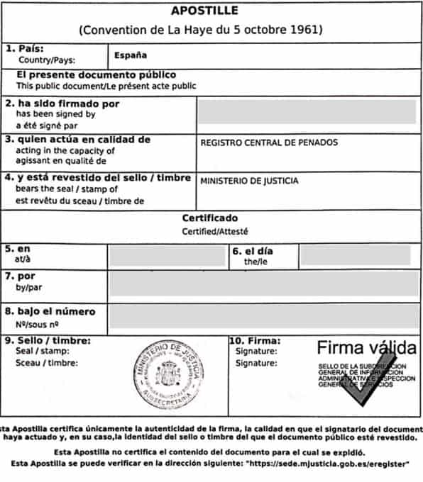 Apostille of a Spanish Police Record