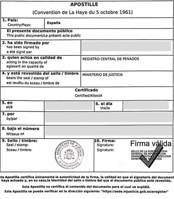 Apostilla de la Haya de un certificado de penales español