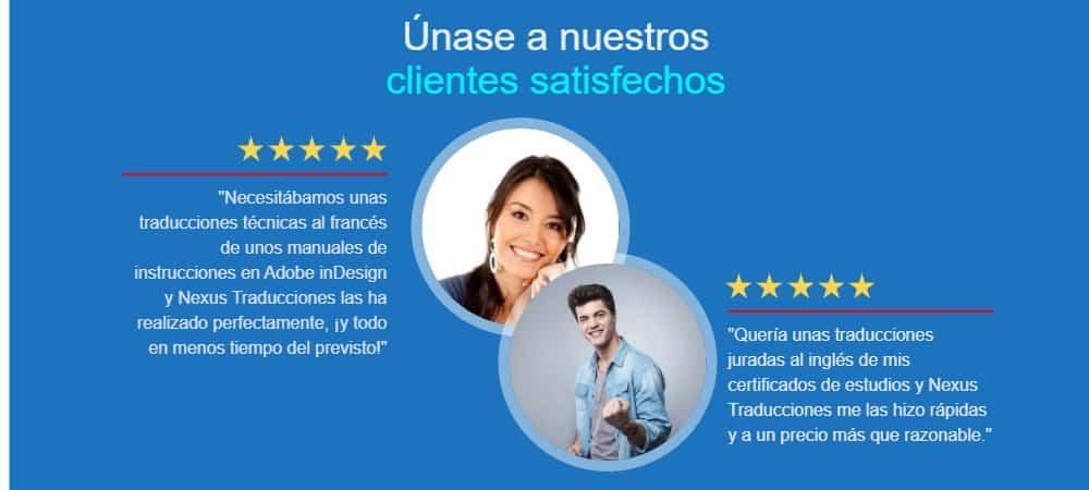 clientes satisfechos de Nexus traducciones