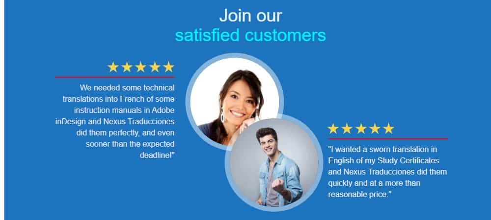 Satisfied customers of our Translation Agency